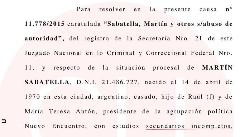 Martín Sabbatella título secundario