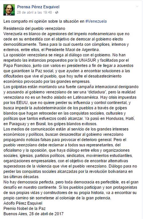 Mensaje decepcionante de Adolfo Pérez Esquivel