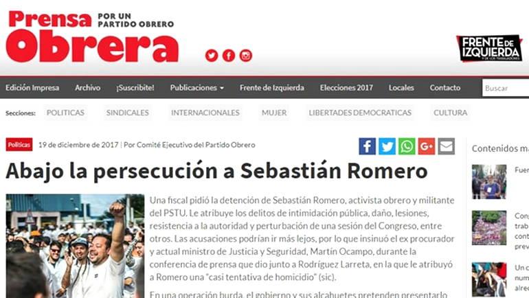 Sebastián Romero zurdo y delincuente